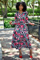 Floral Leopard Dress - Modestapparels