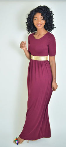 Burgundy Modesta Dress - Modestapparels