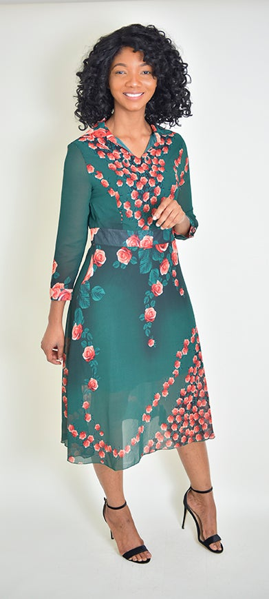 Green Floral shiffon dress