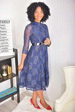 Load image into Gallery viewer, Navy Blue flower Dress - Modestapparels