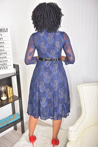 Navy Blue flower Dress - Modestapparels