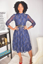 Load image into Gallery viewer, Navy Blue flower Dress