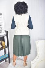 Load image into Gallery viewer, 3 piece set ( navy top, olive skirt, nude jacket) - Modestapparels