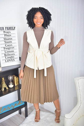 3 piece set  ( Mocha skirt and top, nude jacket)