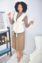 Load image into Gallery viewer, 3 piece set  ( Mocha skirt and top, nude jacket) - Modestapparels