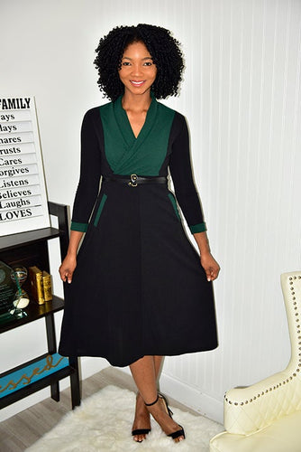 Pine Green and Black Dress - Modestapparels
