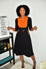 Load image into Gallery viewer, Burnt Orange and Blk Dress - Modestapparels