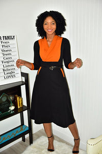 Burnt Orange and Blk Dress - Modestapparels