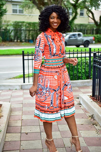 Orange Blow Dress - Modestapparels