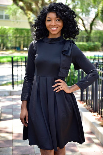 Black Shoulder Bow Dress