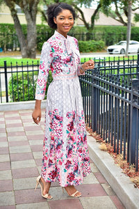 Floral Bowtie Dress - Modestapparels