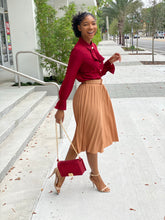 Load image into Gallery viewer, Burgundy bow Blouse