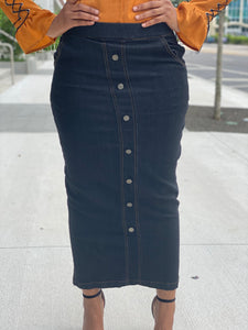 Slight stretch black jean skirt