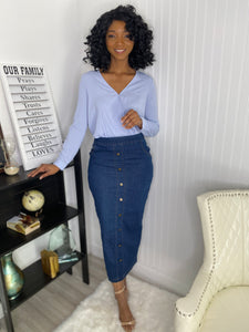 Slight stretch jean skirt - Modestapparels