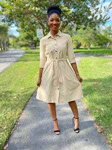 Button down Khaki Dress - Modestapparels