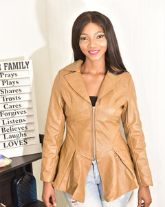 Mocha leather jacket - Modestapparels