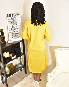 Yes or No yellow shirt Dress - Modestapparels