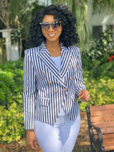 Load image into Gallery viewer, High quality blazer black and white stripe - Modestapparels