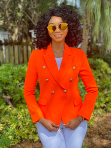 High quality neon orange blazer - Modestapparels