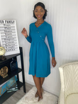 Blue button winter Dress