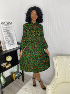 Green Leopard dress - Modestapparels