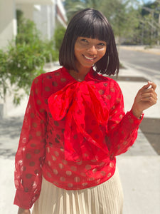 Red hole blouse