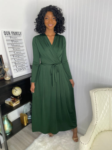 Green maxi dress - Modestapparels