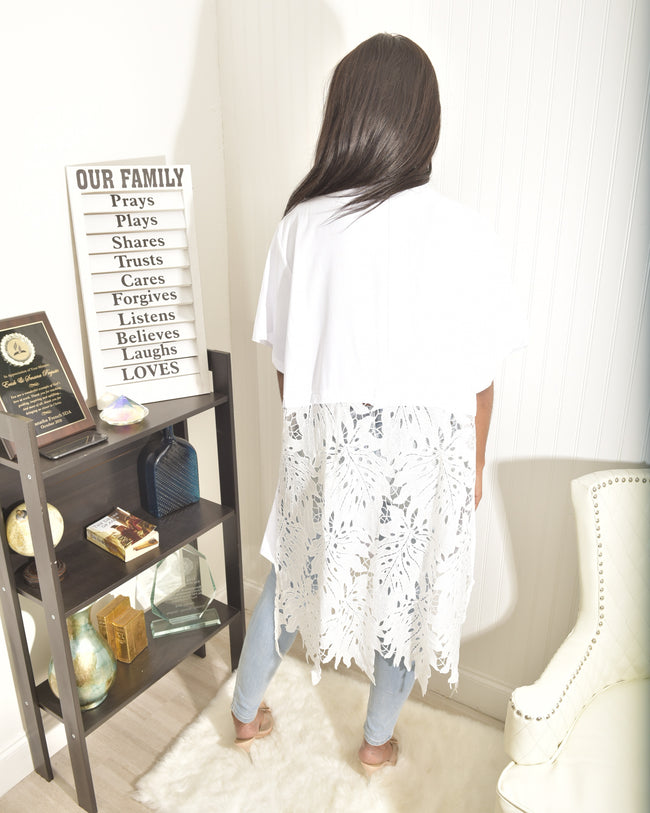 White loose pattern Shirt - Modestapparels