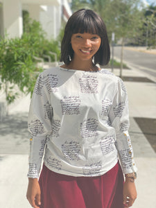 White  letter blouse