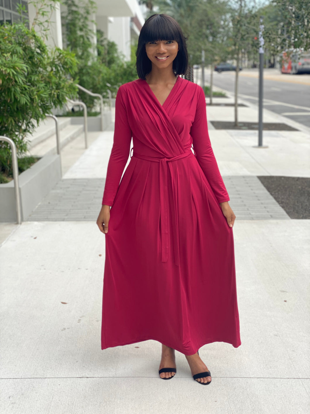 Burgundy maxi dress - Modestapparels