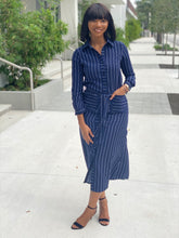 Load image into Gallery viewer, Navy and white stripe dress