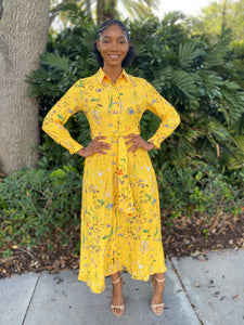 Yellow flower bomb Dress - Modestapparels