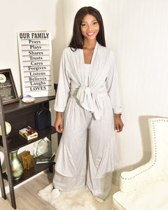 Grey overflow two piece set - Modestapparels