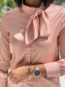 Rose gold bow tie blouse - Modestapparels