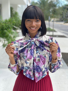 Blossom bow tie blouse - Modestapparels