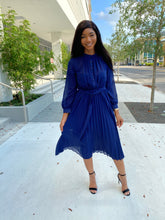 Load image into Gallery viewer, Navy blue chiffon dress - Modestapparels