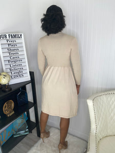 Nude button winter Dress