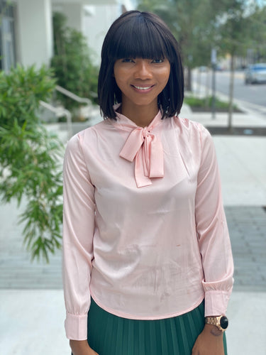 Pink  bow tie blouse - Modestapparels