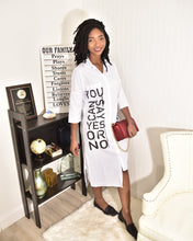 Load image into Gallery viewer, Yes or No white shirt Dress - Modestapparels