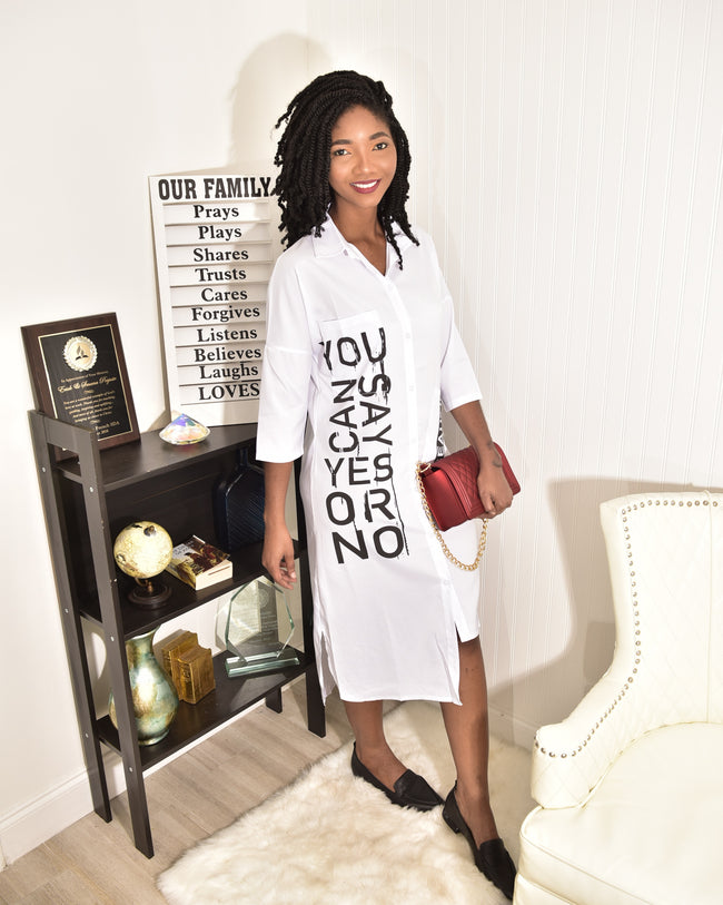 Yes or No white shirt Dress - Modestapparels