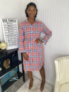 Plaid shirt dress  1
