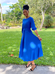 Royal Blue pew Dress - Modestapparels