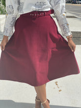 Load image into Gallery viewer, Burgundy wool skirt - Modestapparels