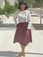 Load image into Gallery viewer, Burgundy wool skirt