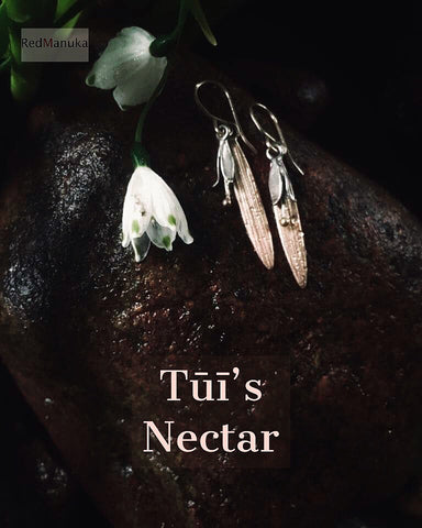 Tūī's Nectar Gold and Silver Earrings | nz jewellery | redmanuka