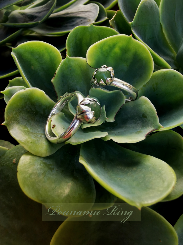 Pounamu Blossom Silver Ring | Redmānuka | nz jewellery