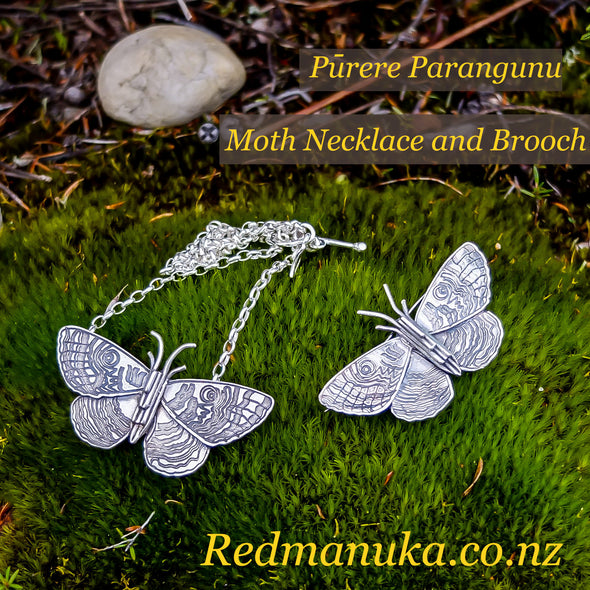 Jewellery nz | Purere Parangunu Peacock Moth Silver Brooch and Necklace on Moss Background