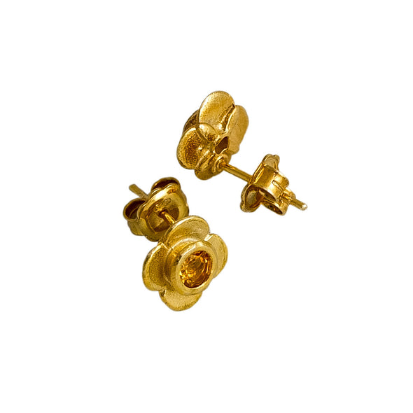 Quatrefoil Citrine Ear studs. Sterling Silver with pure gold surface. Handmade by NZ jewellery designer Martyn Milligan, Rinopai, Parapara, Golden Bay , Nelson
