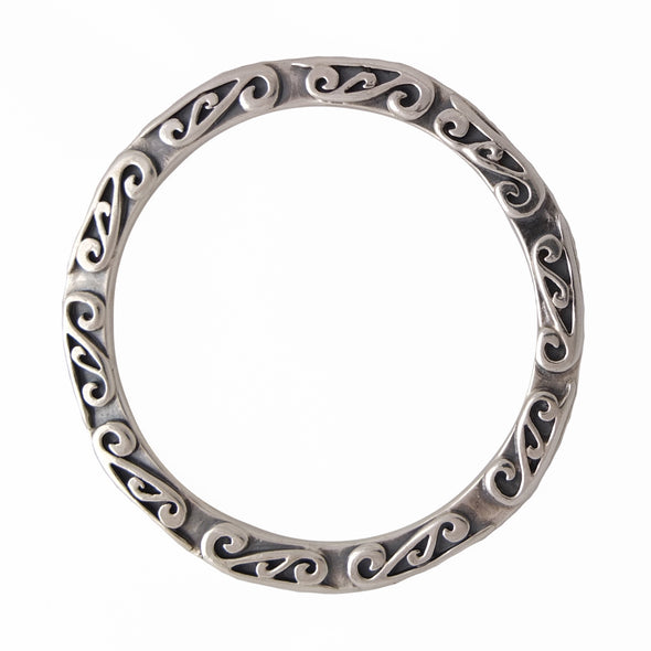 Sterling Silver Bangle with Kowhaiwhai overlay