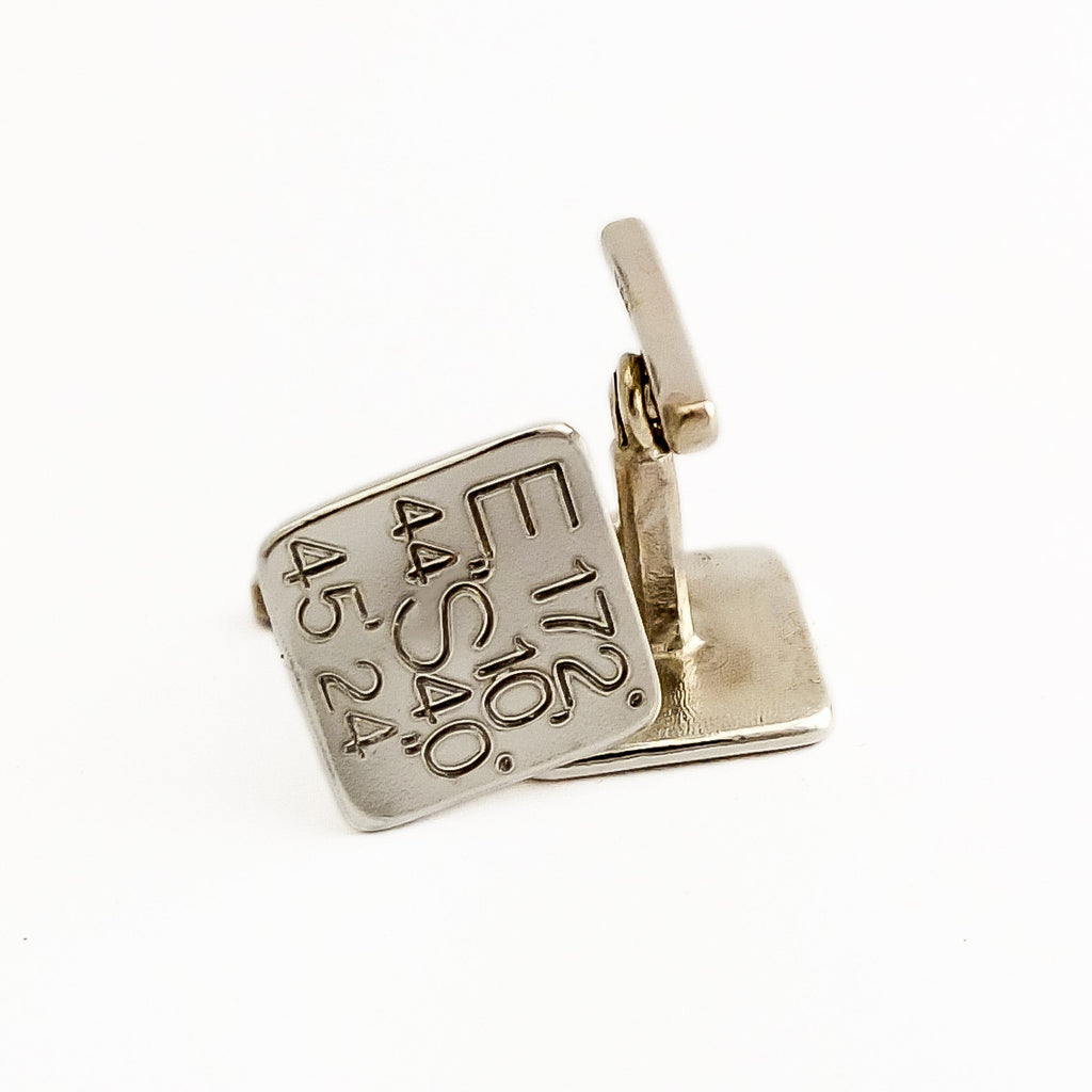 Mens silver Cufflinks gps engraved